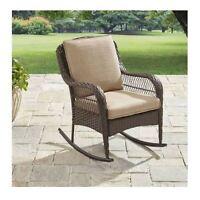 Outdoor Rocking Chair Wicker Patio Furniture Garden Rocker Seat Cushion Brown