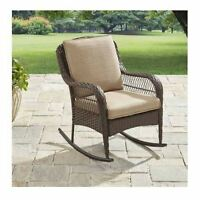 Outdoor Rocking Chair Wicker Patio Furniture Garden Rocker Seat Cushion Brown
