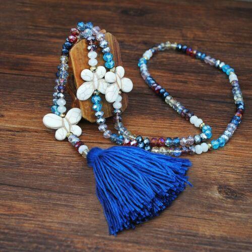 Butterfly Pendant Necklace Long Bohemian Retro Tassel Glass Bead Sweater Chain