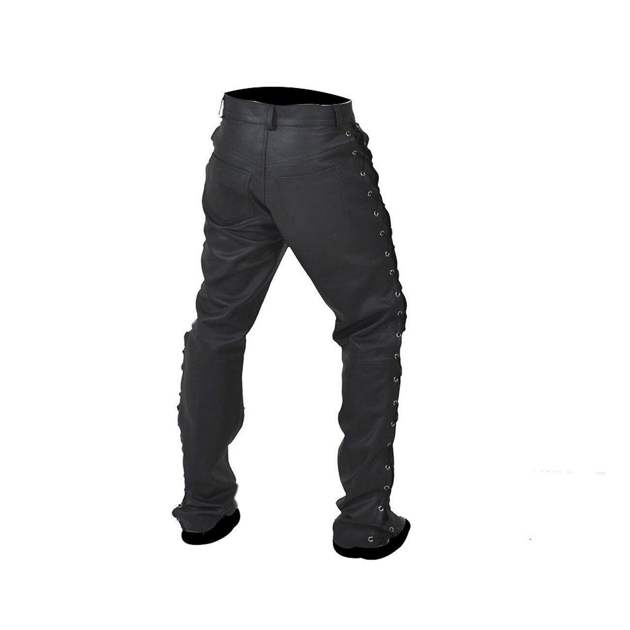 Hommes Sexy Motard Pantalon Authentique Cuir Noir Sexy Hommes Côté à Lacets Jeans Bluf Gay 346941