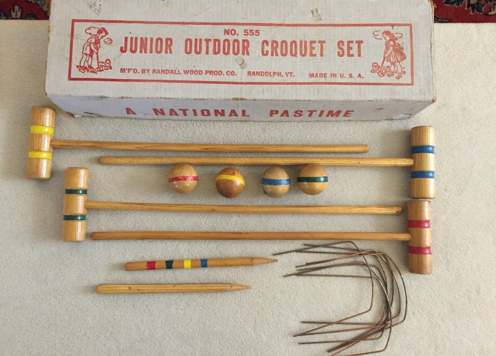 Vintage Junior Outdoor Croquet Set  Randall Wood Prod Co A National Pastime  up to 42% off