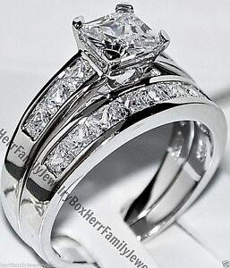 Sterling-Silver-14k-White-Gold-Princess-cut-Diamond-Engagement-Ring-Wedding-Set