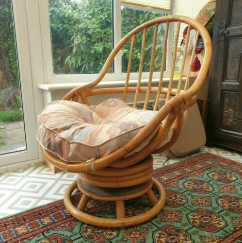 Angraves Vintage Mid Century Swivel Cane Egg Bamboo Rocking Chair No 1