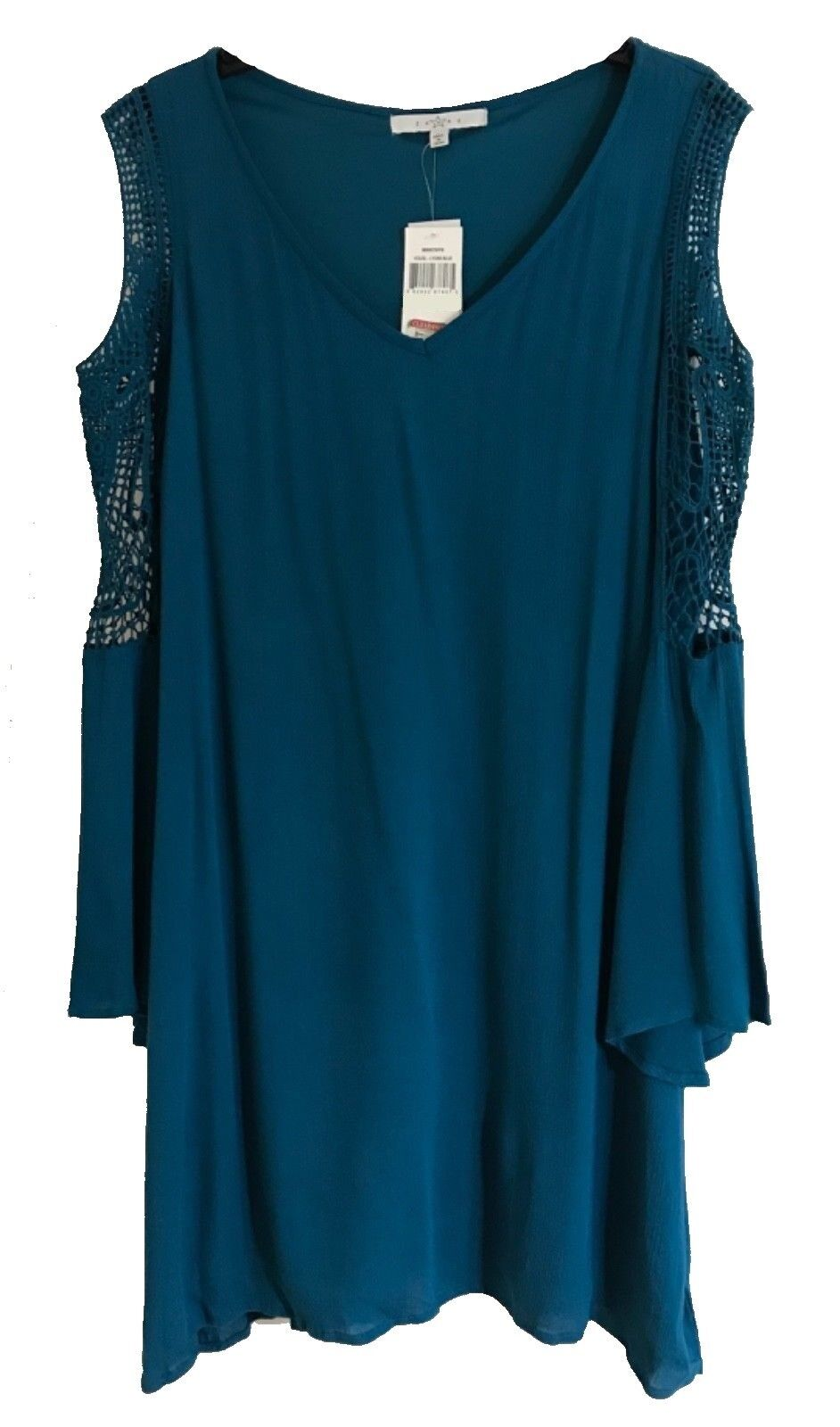 Fever Women's Cold Shoulder Lace Trim Bell Sleeves Dress, Lyons bluee, M