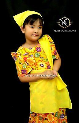 Kids Filipiniana Dress Floral Patadyong Philippine National Costume Yellow Ebay