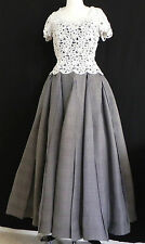 ESCADA Couture Formal Dress White Lace Over Black and White Dress Size38