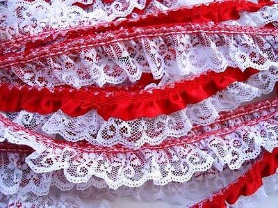 5 yards Fuchsia Satin Ruffle White French Floral Lace//Trim//Sewing T39-Hot Pink