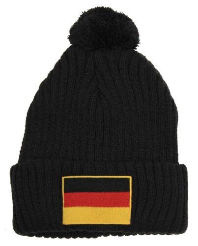 Länder-Mütze Pudelmütze Bommelmütze mit Stick Flagge • DEUTSCHLAND • 50211