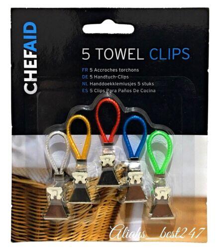 Mme Hinch Torchon Clips Cuisine Serviette Hanger Support 5 Mini Clips par Chef Aid.