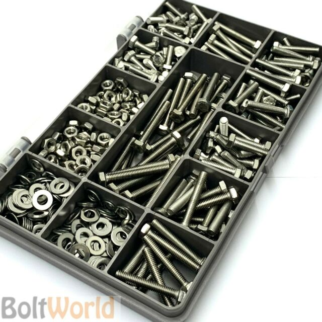 360 ASSORTED PIECE A2 M5 FULLY THREADED BOLTS NUTS WASHERS SCREWS STAINLESS KIT