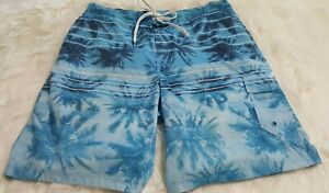 Mens-Speedo-Size-XL-Swim-Trunks-Board-Shorts-Blue-Mesh-Lined-Tropical-Print-E-2