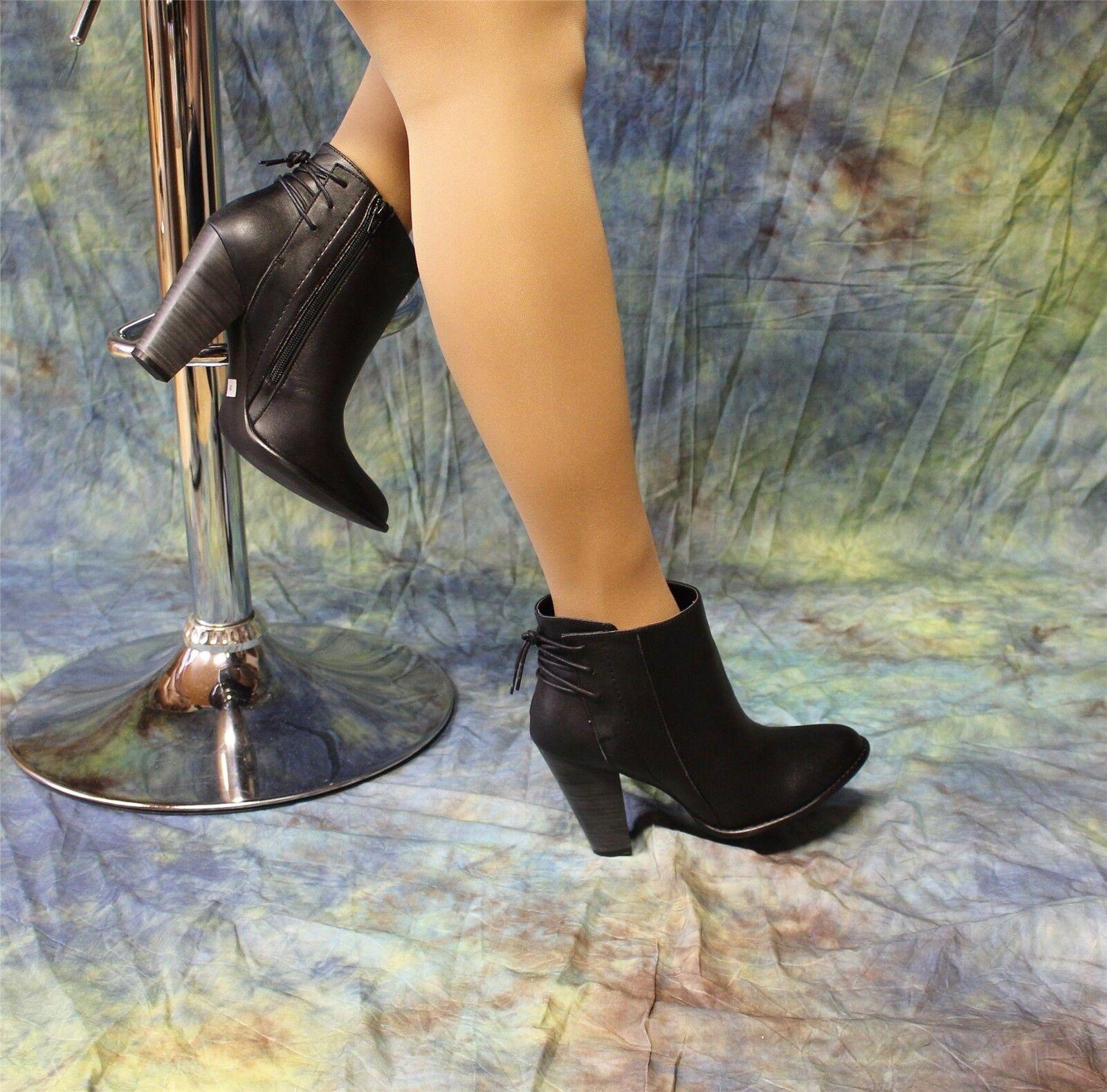 ANDREA- Stiefeletten aus Echtleder black mit Schnürung hinten