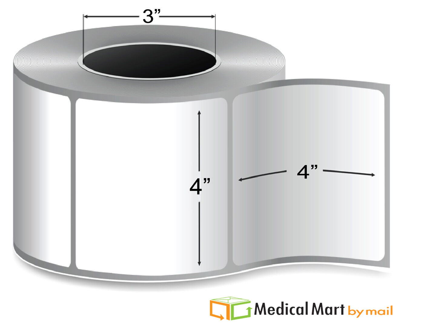 4  x 4  Thermal Transfer Label - 3  Core Ribbon Required 1475 rl (8 Rolls)