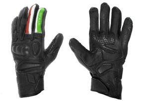 Guanti-moto-in-pelle-PRO-FUTURE-nero-con-bandiera-italiana-sul-dito