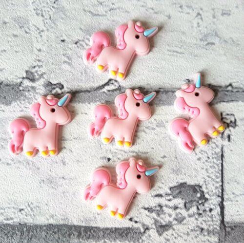 Craft Supplies Set of 5 Pink Unicorn Flatbacks Cabochons Embellishments