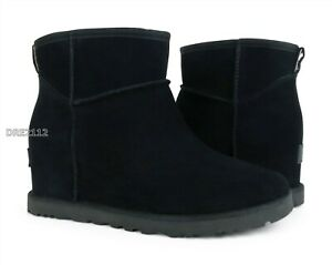 UGG-Classic-Femme-Mini-Black-Suede-Fur-Wedge-Boots-Womens-Size-7-NIB