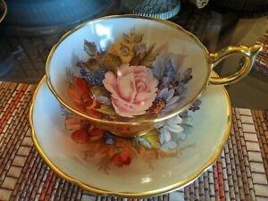 RARE-Aynsley-J-A-Bailey-Cup-amp-Saucer-Cabbage-Rose-Hand-Painted-Gold-Teacup-NR