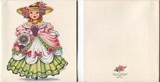 VINTAGE VICTORIAN GIRL DOLL OF ENGLAND ROSES PRINT & 1 SPRING GARDEN KITTEN CARD