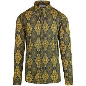Nuevo-Madcap-Retro-Mod-para-hombre-60s-70s-lanza-Collar-Gangster-Camisa-barroco-MC474
