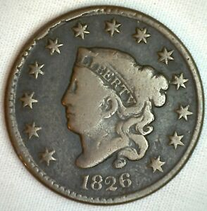 1826 Coronet Large Cent US Copper Type Coin VG Very Good N5 Variety Penny 1c