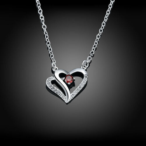 Elegant 925 Sterling Silver Filled Heart Red CZ Pendant Woman Necklace N-A579