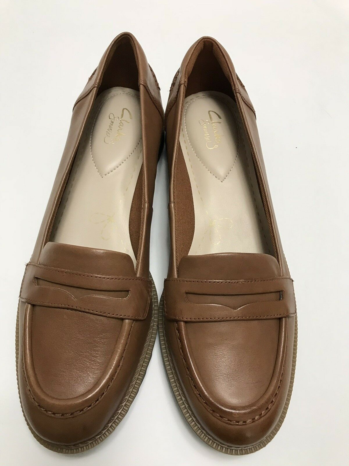 CLARKS CLARKS CLARKS Women Griffin Milly Tan Leather Penny Loafer Slip On shoes 10M NIB NEW badca2