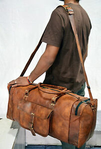 Vintage-Retro-Men-Genuine-Leather-travel-duffle-weekend-bag-lightweight-luggage
