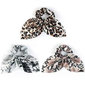 Velvet-Scrunchie-LEOPARD-Print-Ponytail-Bun-Holder-Elastic-Hair-Tie-Rope-Ring