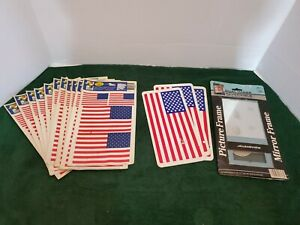 American Flag Static Cling Window Hang ups Dual Picture Frame Lot of 15 Items