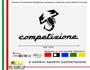 2-ADESIVI-SCORPIONE-ABARTH-COMPETIZIONE-STICKER-PVC-SOFT-TUNING-ELABORARE-AUTO