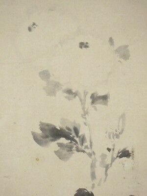 Japanese Art Hanging Scroll Painting Chrysanthemum Vintage 木村 梁舟 Aged Japan C80 2019 New Fashion Style Online Antiques