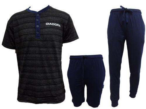 pigiama uomo 3 pezzi mezza manica pantalone lungo e corto cotone DIADORA 60024