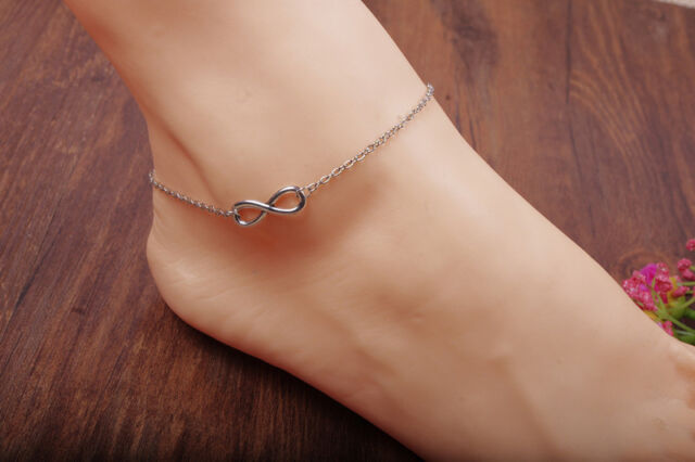Great Silver Plated Infinity Double Chain Anklet Foot Jewelry Ankle Bracelet LJ