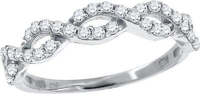 Ladies Sterling Silver Braided Infinity Lab Diamond Ring in White Gold Finish
