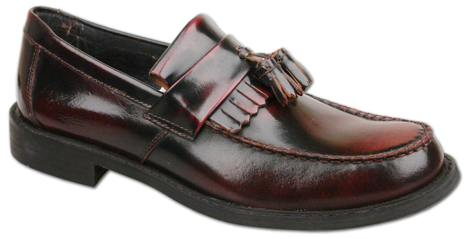 Nouveau pour homme en cuir Oxblood 7 slip on tassel mocassin chaussures taille 6 7 Oxblood 8 9 10 11 12 8b99c3