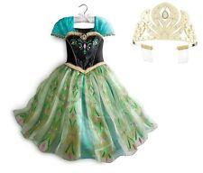 Disney Frozen Anna Deluxe Coronation Dress Size 7/8 Halloween Costume & Tiara