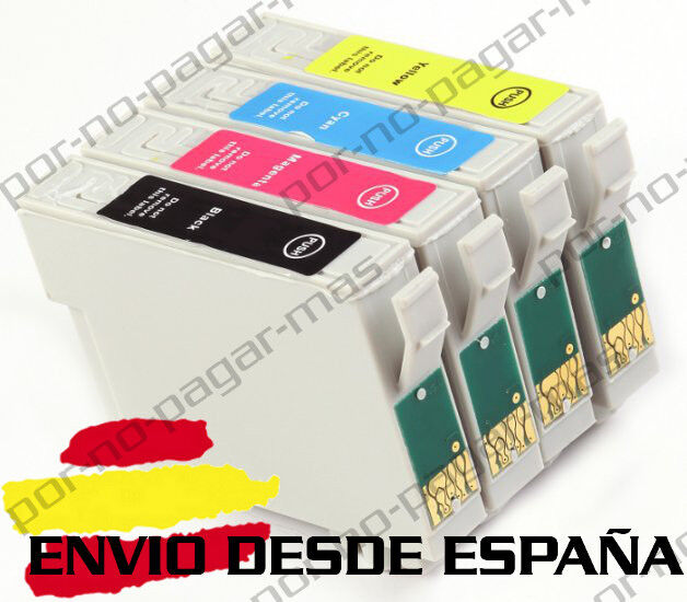 4 CARTUCHOS DE TINTA COMPATIBLE NON OEM PARA EPSON WF 2530WF T1635 T1631/2/3/4