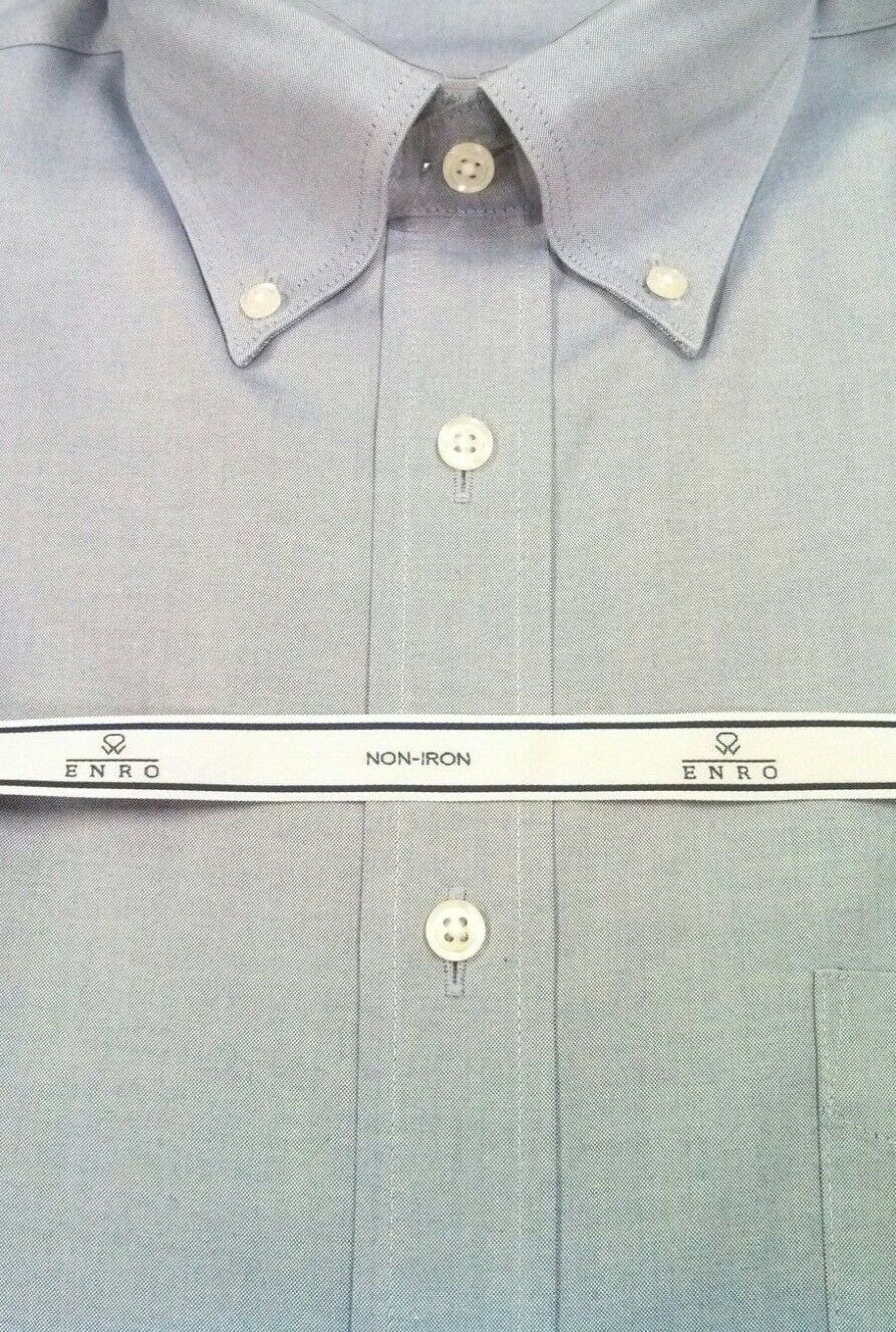 ENRO Dress Shirt 100% Cotton Non-Iron Pinpoint BD Collar  NWT 17.5-32 33 bluee