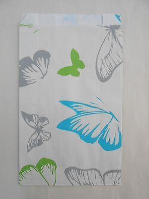 lot 50 pochettes cadeau papier enveloppe kraft bijoux 12x4x21 papillon bleu neuf