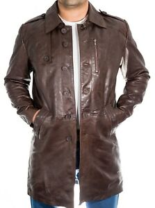 Mens New Long Trench Classic Smart Vintage Button Fastening Brown Leather Coat