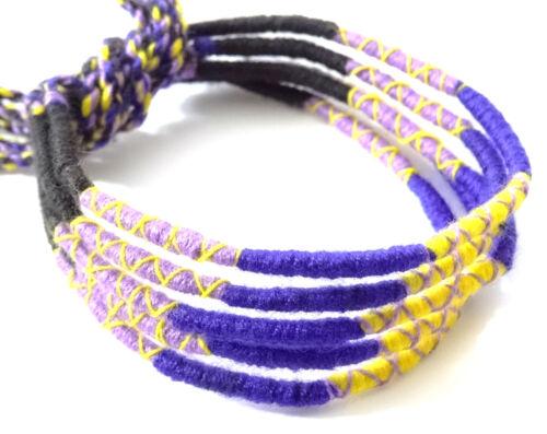 Lot 5 Bracelets Brésiliens de l/'Amitié Macramé coton Friendship bleu noir jaune