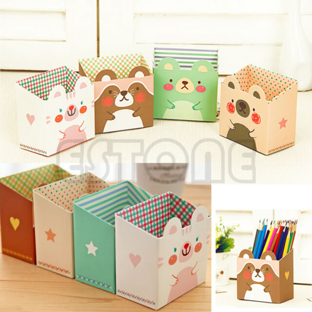 DIY Paper Stationary Makeup Cosmetic Desk Organizer Storage Box Cute Cartoon Cat