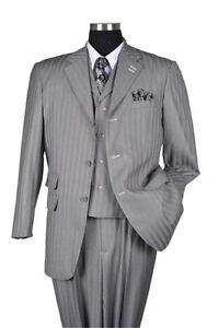 Détails Sur Neuf Pour Homme 3 Pièces Acquis Gris Costume élégant Classique Rayures Avec