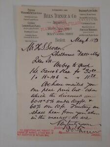 HILLS TURNER & CO Boston MA 1893 letterhead GLASS Windows Document LOCAL History