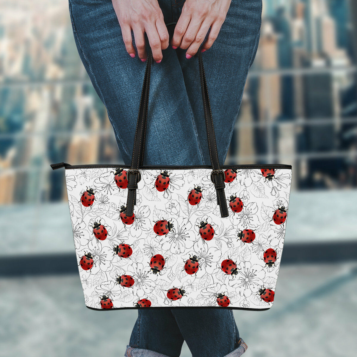 Ladybugs & Flowers Book Beach Shopping PU Leather Tote Bag, Ladybird Market Bag