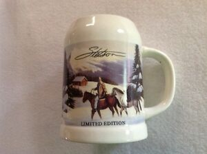 Stetson limited edition stein; winter scene with man on a horse.