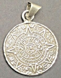 Sterling silver aztec calendar pendant sun dial mayan mexico tm image is loading sterling silver aztec calendar pendant sun dial mayan aloadofball Images