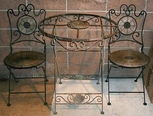 Rare 1930s Iron Bistro Table Cafe Patio Set Chairs Wicker Vintage