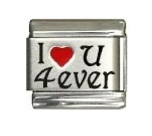 9mm-Italian-Charm-L105-I-love-you-forever-I-Heart-u-4-ever-Fits-Classic-Size