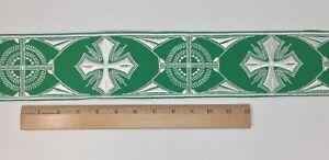 Orphrey-Vintage-Cruz-Blanco-Encendido-Verde-Vestment-Banda-8-3cm-Ancho-Se-Vende
